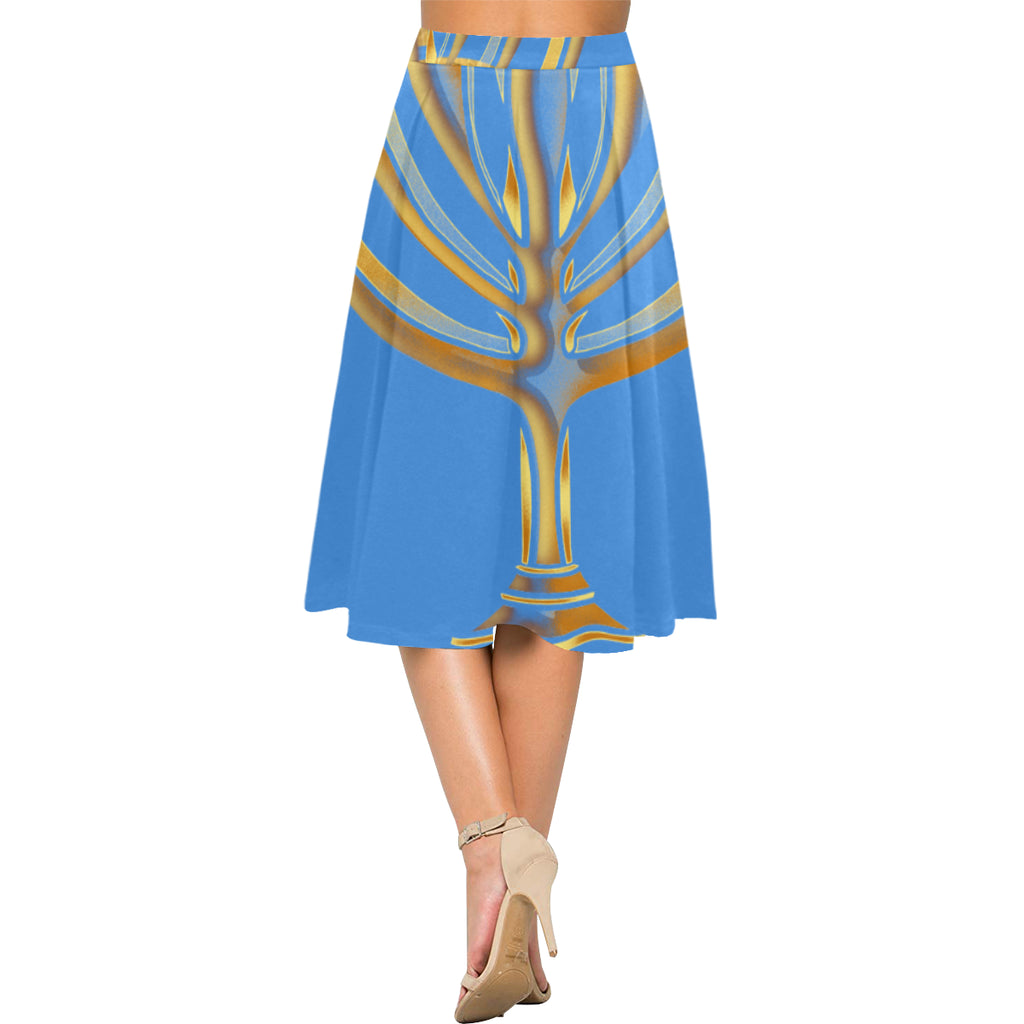MENORAH Blue Crepe Skirt