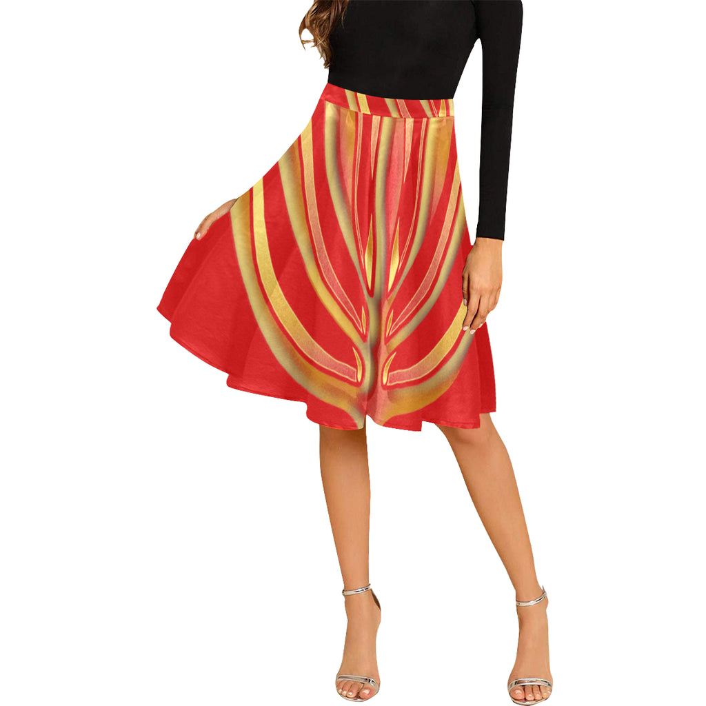 MENORAH RED Pleated Midi Skirt