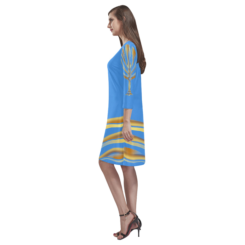 MENORAH Baby Blue Loose Round Neck Dress
