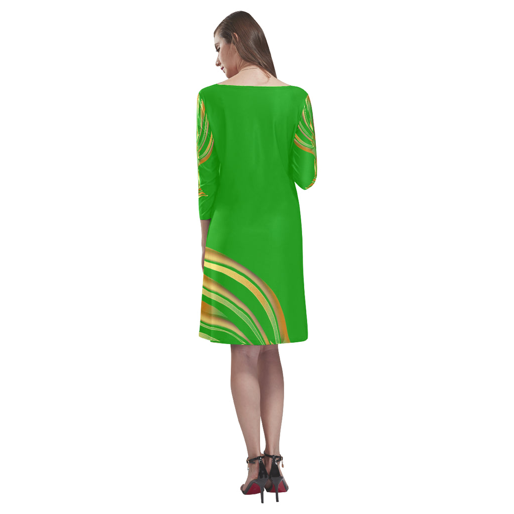 MENORAH Green Loose Round Neck Dress