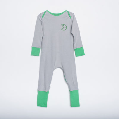 Green and grey organic cotton zipped babygrow