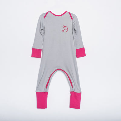Pink and grey organic cotton zipped babygrow