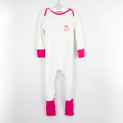 Pink and white mischiefsuit organic cotton zipped babygrow