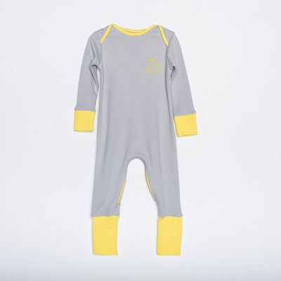 Yellow and grey organic cotton zipped babygrow