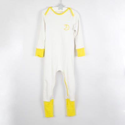 Yellow and white mischiefsuit organic cotton zipped babygrow