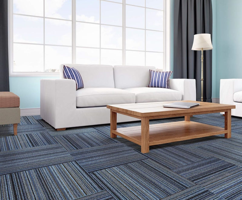 Living room with Parallel loop carpet tiles in High Tide