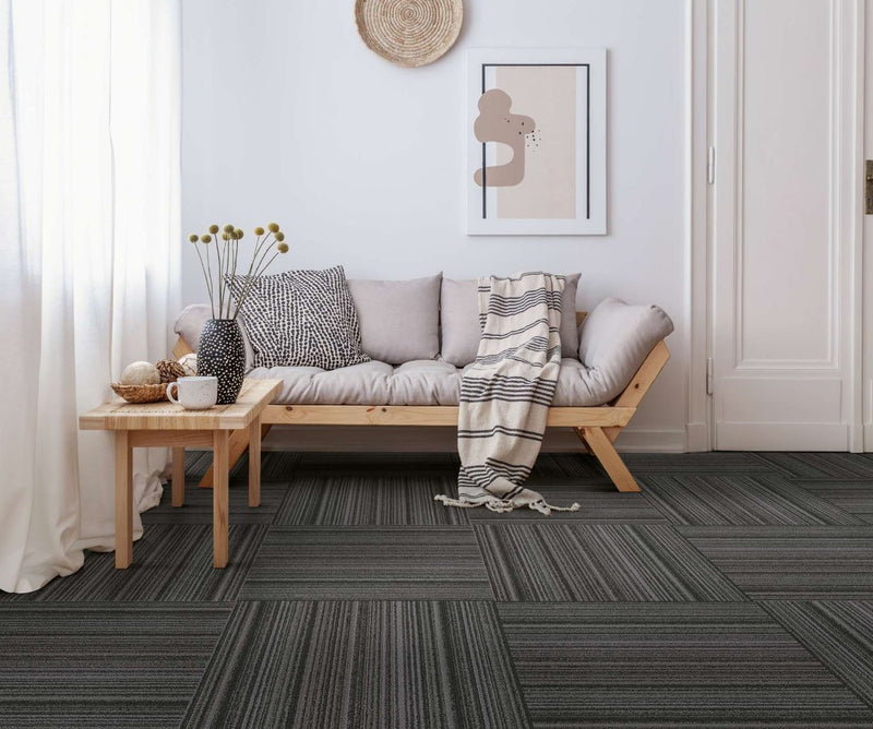 Storm Parallel loop carpet tiles on the floor of a modern home