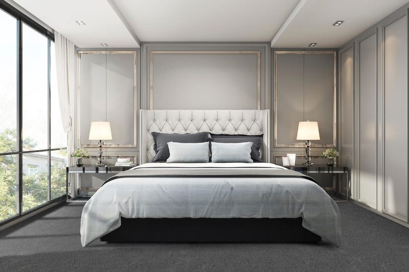 Luxury Bedroom shown with Zalman Silver Satin Plush Cut Carpet Tiles