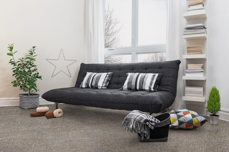 Living room scene with Zalman flannel grey plush cut carpet tiles