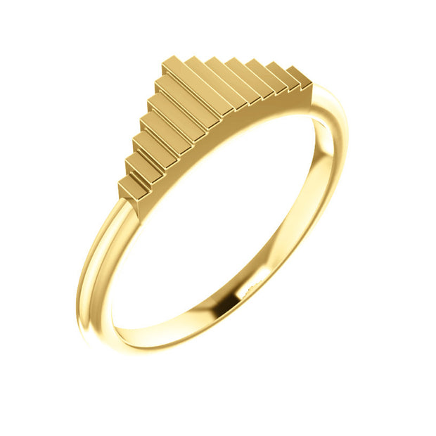 14k Geometric Rise Stackable Ring