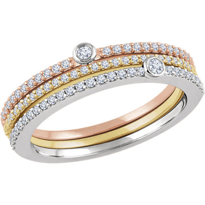 14K White, Yellow, & Rose 3/8 CTW Diamond Set of 3 Stackable Rings