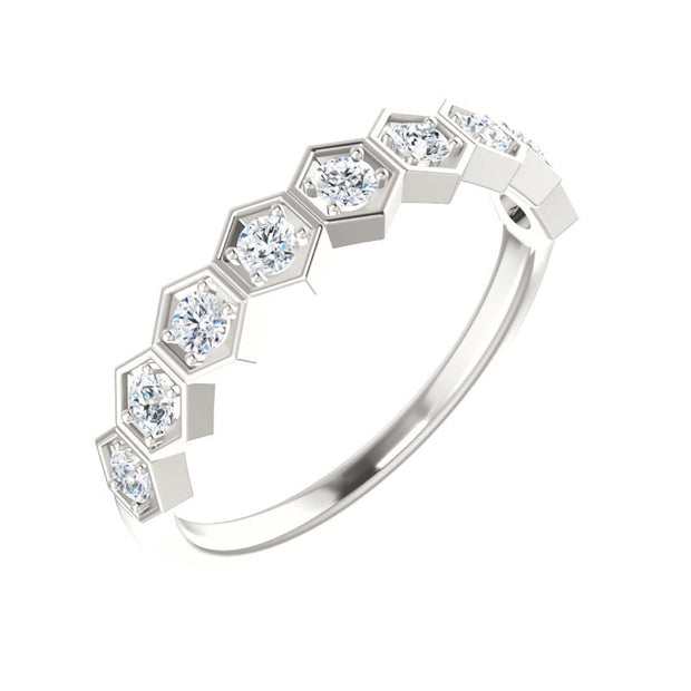 14k Geometric Stackable Diamond Ring 1/3 CTW