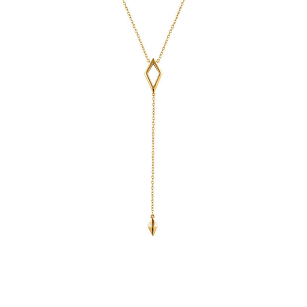 "14K Gold Geometric ""Y"" Necklace"