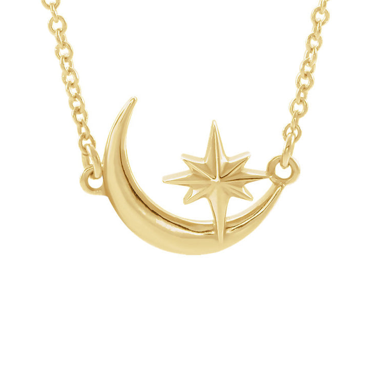 14k Crescent Moon & Star Necklace