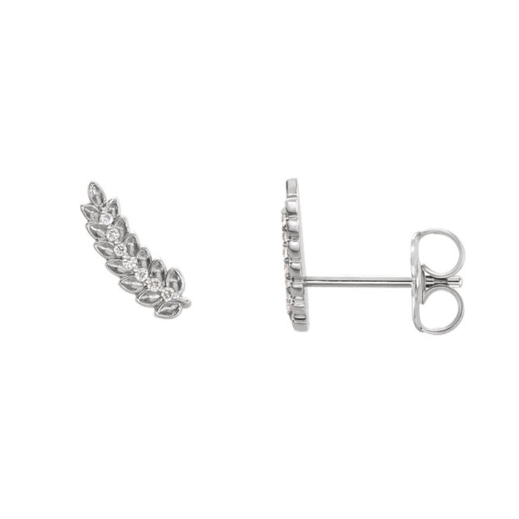 14k Diamond Leaf Ear Climbers .04 CTW