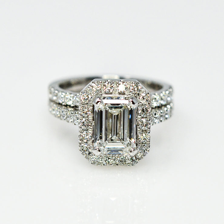 Emerald-Cut Halo Wedding Set