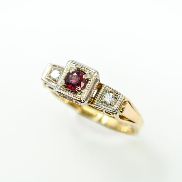3 Stone Vintage Ruby and Diamond Ring