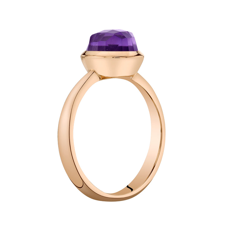 14k Rose Gold, Amethyst Solitaire Dome Ring 1.50 Cts.