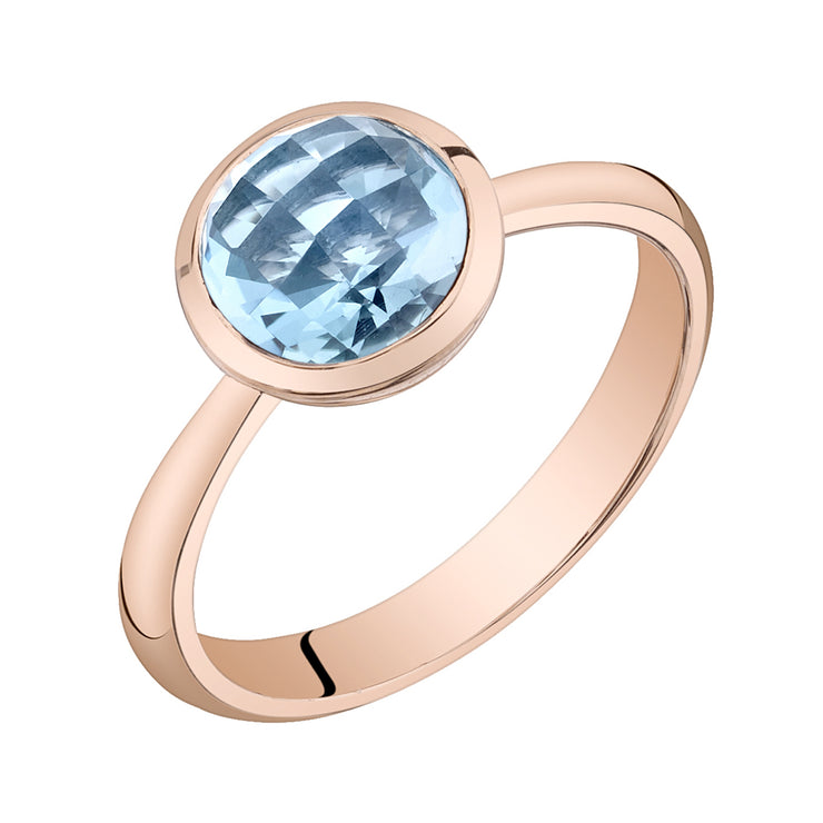 14k Rose Gold Swiss Blue Topaz Solitaire Dome Ring 2.00 Cts.