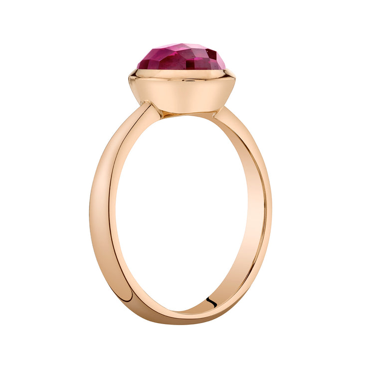 14k Rose Gold, Ruby Solitaire Dome Ring 2.50 Cts.