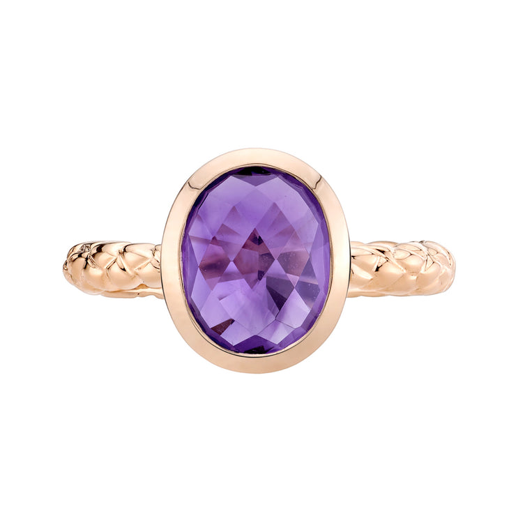 14k Rose Gold, Amethyst Cupola Solitaire Dome Ring 2.00 Cts.