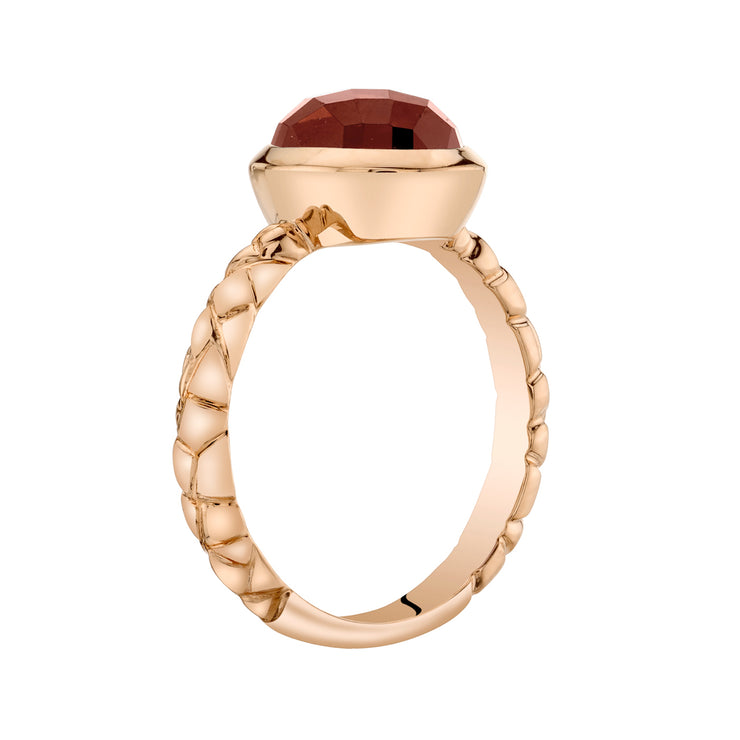14k Rose Gold, Garnet Cupola Solitaire Dome Ring 3.00 Cts.