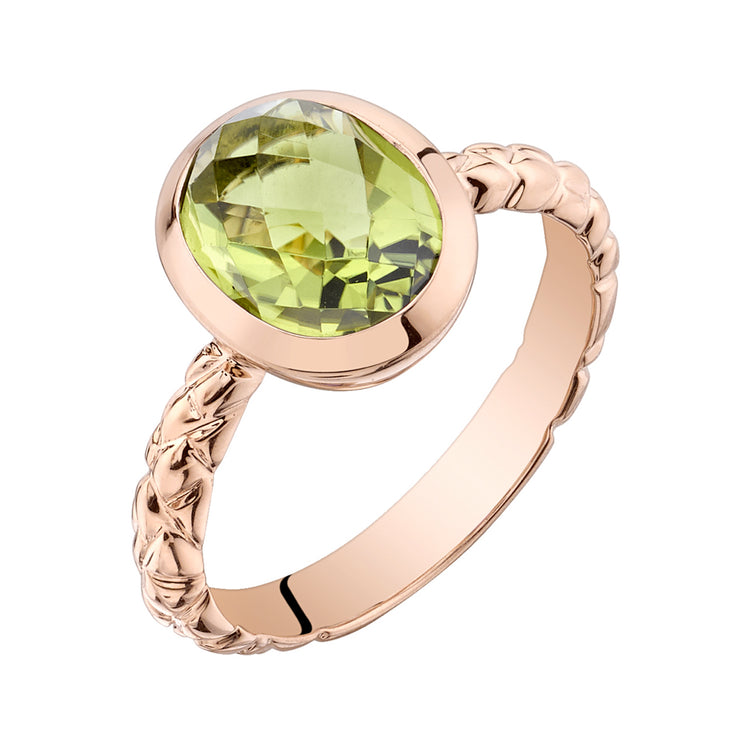 14k Rose Gold, Peridot Cupola Solitaire Dome Ring 2.50 Cts.