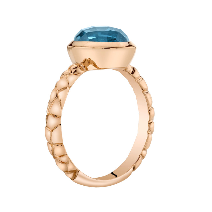 14k Rose Gold, London Blue Topaz Cupola Solitaire Dome Ring 2.50 Cts.