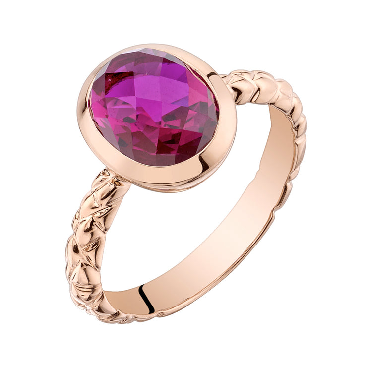 14k Rose Gold, Ruby Cupola Solitaire Dome Ring 3.00 Cts.