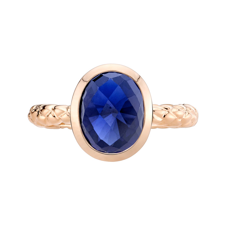 14k Rose Gold, Blue Sapphire Cupola Solitaire Dome Ring 3.00 Cts.