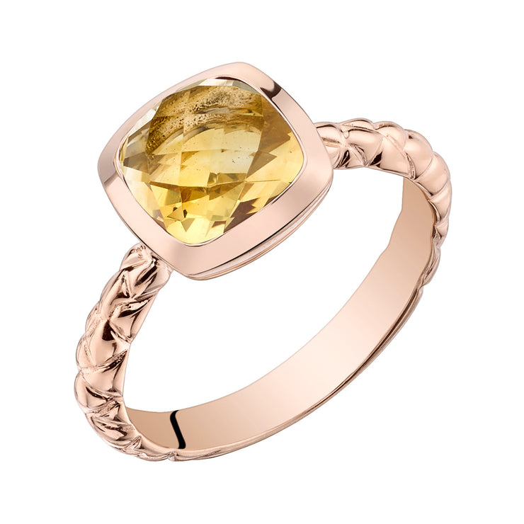 14k Rose Gold, Citrine Cushion Cut, Woven Solitaire Dome Ring 2.00 Cts.