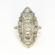 3 Diamond Vintage Platinum and Yellow Gold Ring
