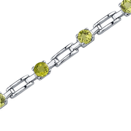 Round Cut Peridot Bracelet in Sterling Silver 3.00 Carats