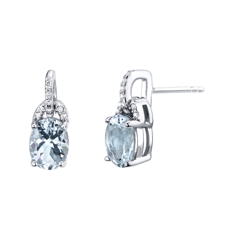 Aquamarine Sterling Silver Pirouette Drop Earrings 2.00 CTW.