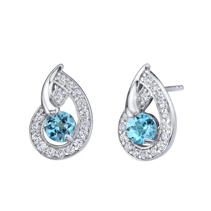 Swiss Blue Topaz Nautilus Stud Earrings 1.25 Carats Total