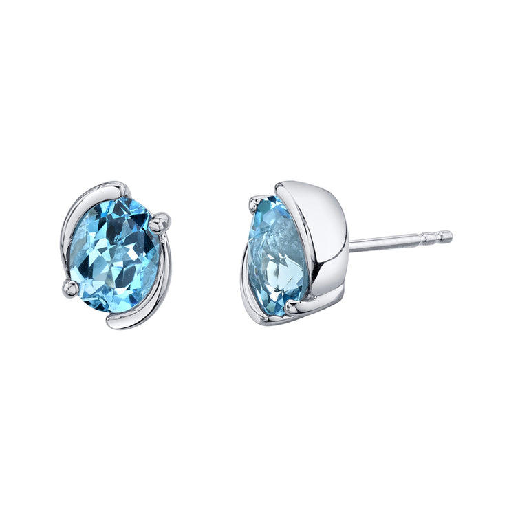 Swiss Blue Topaz Bezel Stud Earrings 3.00 Carats Total