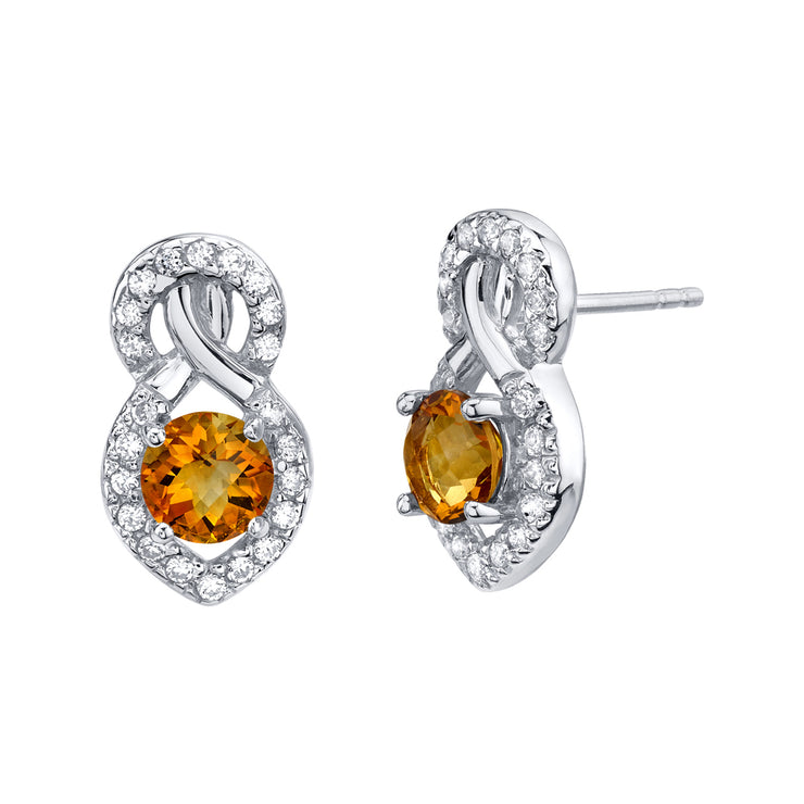 Citrine Crossover Stud Earrings 1.50 Carats TW.