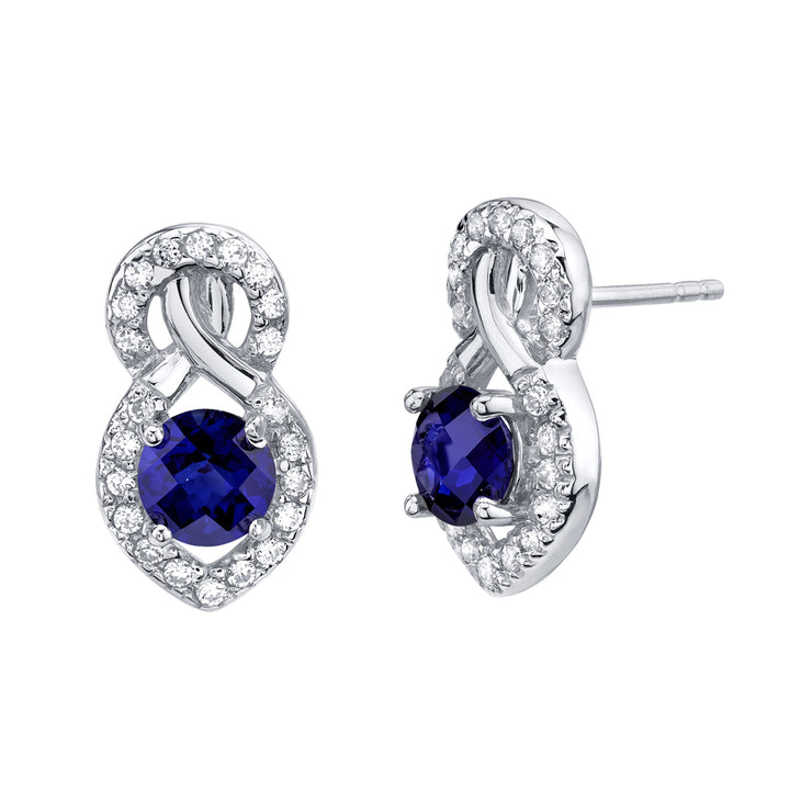 Blue Sapphire Crossover Stud Earrings 2.00 Carats Total
