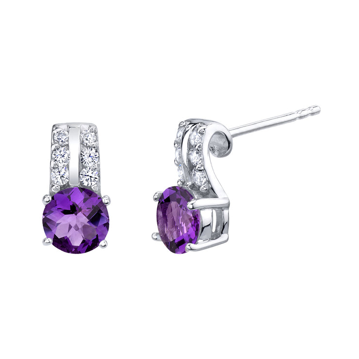 Amethyst Sterling Silver Arc Stud Earrings 1.50 CTW.