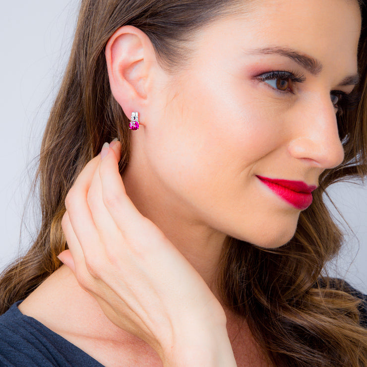Ruby Arc Stud Earrings 2.00 Carats Total
