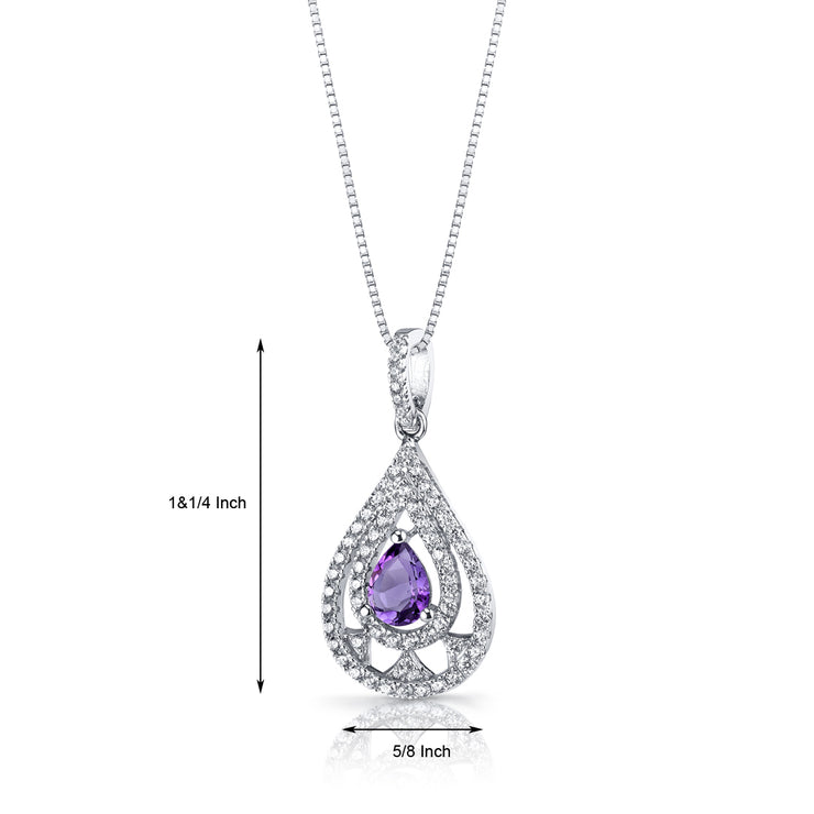 Amethyst Chandelier Pendant Necklace Sterling Silver 1.20 CTW.