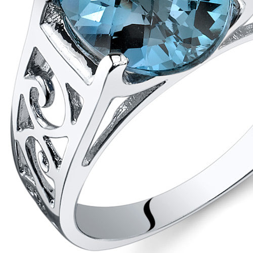 London Blue Topaz Solitiare Sterling Silver Ring 2.75 CTW.
