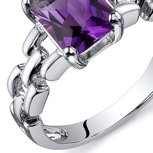 Chain Link Design Amethyst Engagement Ring 1.25 Cts.