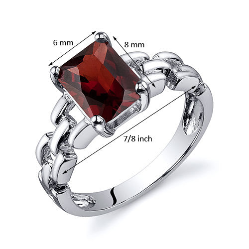 Chain Link Design Garnet Engagement Ring 1.75 Cts.