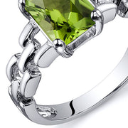 Chain Link Design Peridot Engagement Ring 1.50 CTS.