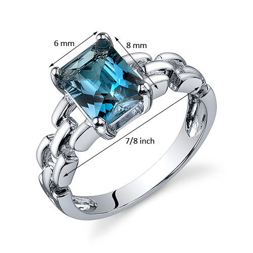 Chain Link Design London Blue Topaz Engagement Ring 1.75 CTS.
