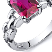 Chain Link Design Ruby Engagement Ring 2.00 Cts
