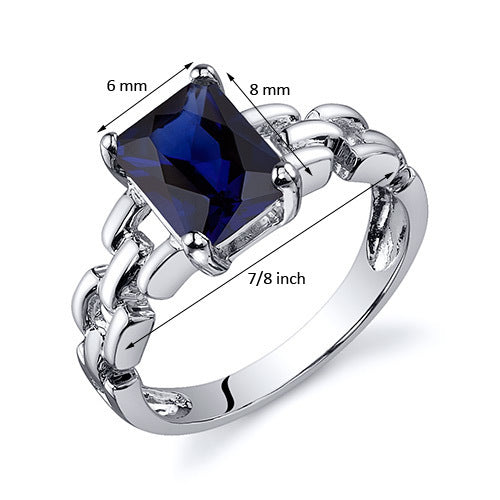 Chain Link Design Blue Sapphire Engagement Ring 2.00 CT.