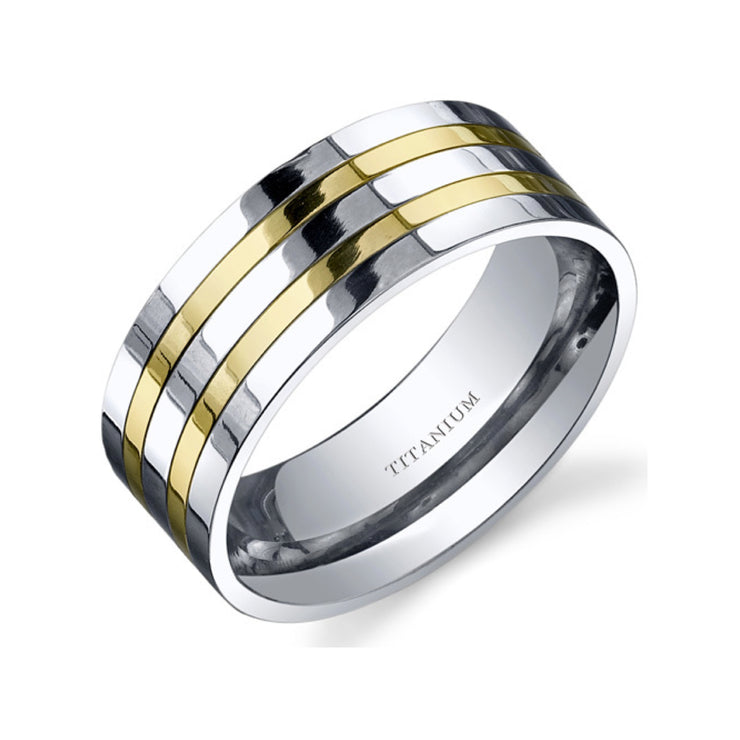 Traditional Mens Titanium Two Tone Ring 8mm