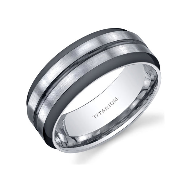 Two Tone Comfort Fit Mens Titanium Ring 8mm
